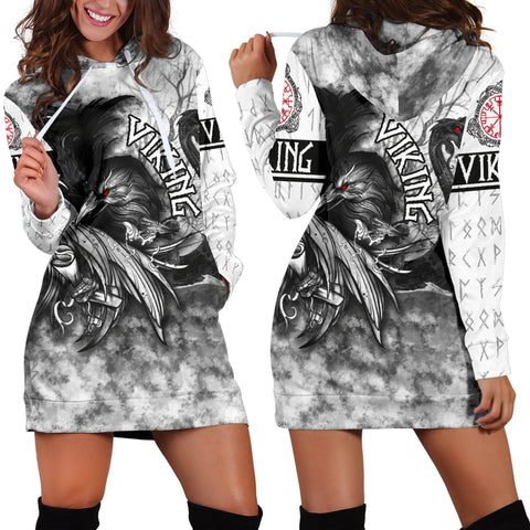 1stIceland VIking Women's Hoodie Drees Raven And Drakkar | 1stIceland.com