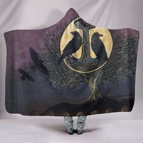 Image of 1stIceland Viking Hooded Blanket, Raven And Tree Of Life K5 - 1st Iceland