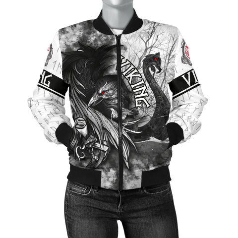 1stIceland Viking Women's Bomber Jacket Raven And Drakkar | 1stIcelan.com