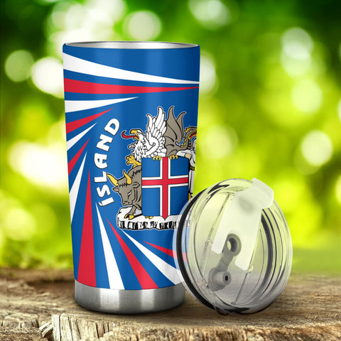 1stIceland Iceland Tumbler Coat Of Arms Creative Vibes - Blue