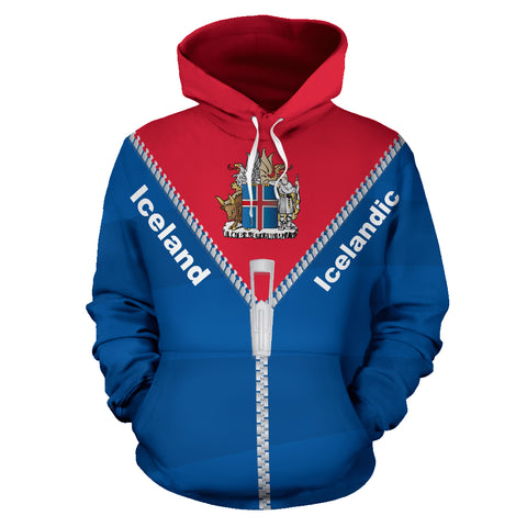 1stIceland Pullover Hoodie, Iceland Coat Of Arms Straight Zipper Style K5 - 1st Iceland