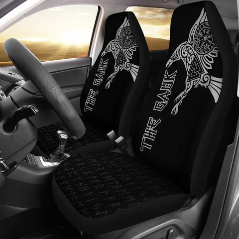 Image of (Custom) 1stIceland Viking Car Seat Covers, Raven Valknut Vegvisir Runes A7 - 1st Iceland