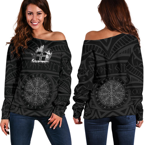 1stIceland Vikings Off Shoulder Sweater, Helm Of Awe Iceland Coat Of Arms K4 - 1st Iceland