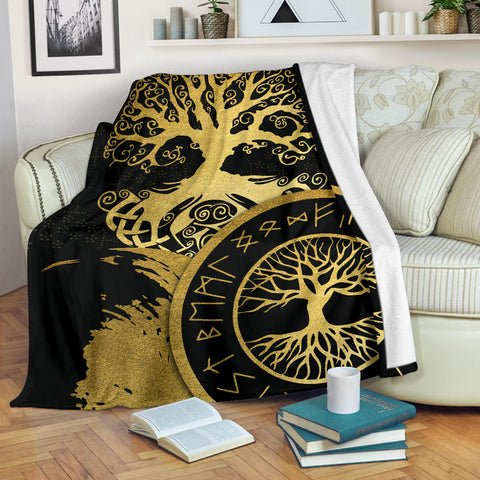 1stIceland Viking Yggdrasil Premium Blanket Gold TH4 - 1st Iceland