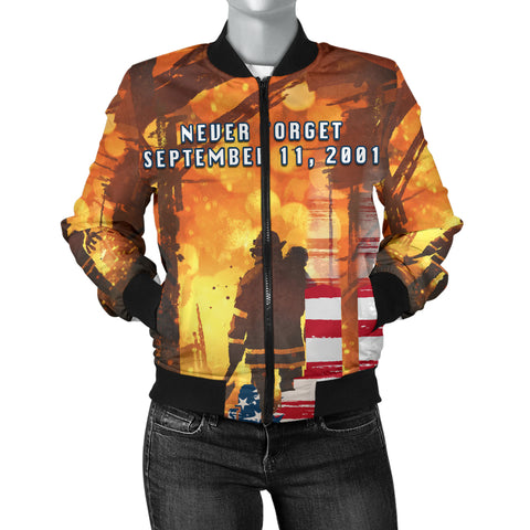 1stIceland American Firefighters Women Bomber Jacket 9.11.01 Never Forget K8 - 1st Iceland