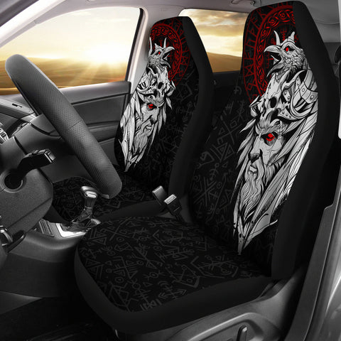 1stIceland Viking Odin And Raven Car Seat Covers TH12 - 1st Iceland