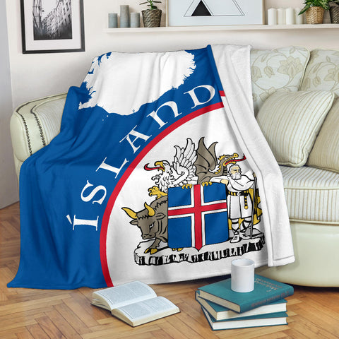 Image of 1stIceland Premium Blanket, Ísland Map Coat Of Arms TH0 - 1st Iceland