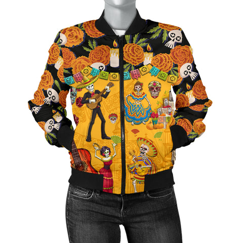 Image of 1stIceland Mexican Día de Muertos Bomber Jacket For Women Cempasúchil Flowers K8 - 1st Iceland