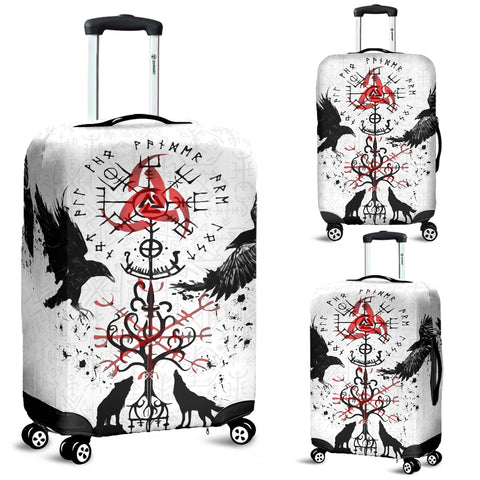 Image of 1stIceland Viking Luggage Cover, Vegvisir Hugin and Munin with Fenrir Yggdrasil K4 - 1st Iceland
