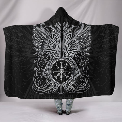 1stIceland Viking Hooded Blanket, Odin's Ravens Helm Of Awe Th5 - 1st Iceland