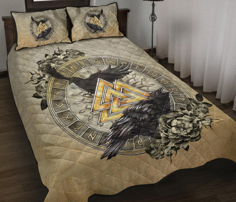 Image of 1stIceland Viking Quilt Bed Set, Raven Valknut Tree Of Life Rune Circle TH00 - 1st Iceland
