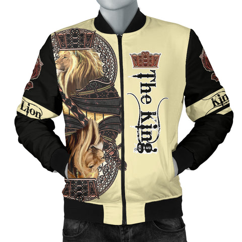Image of 1stIceland King Lion Black Poker Men's Bomber Jacket TH12 - 1st Iceland