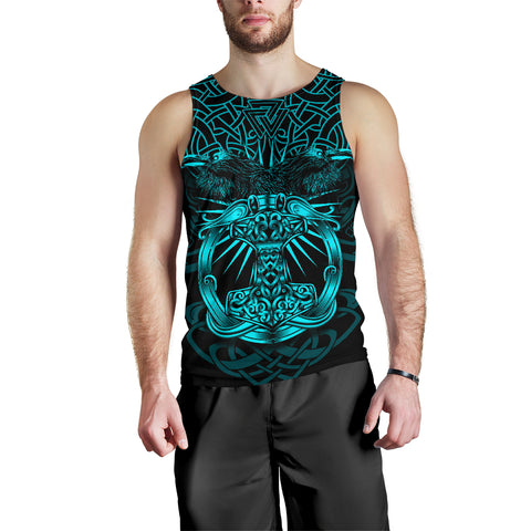Image of 1stIceland Viking Mjolnir Men Tank Top Celtic Raven Version Turquoise K13 - 1st Iceland