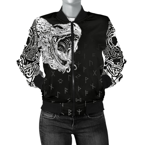 1sticeland Viking Women's Bomber Jacket, Norse Jormungandr the Midgard Serpent Th00 - 1st Iceland