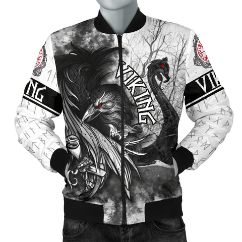 1stIceland Viking Men's Bomber Jacket Raven And Drakkar | 1stIceland.com