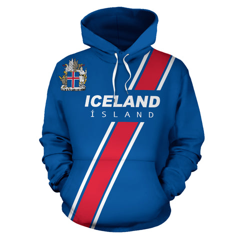 1stIceland Football Pullover Hoodie, Iceland Coat Of Arms K5 - 1st Iceland