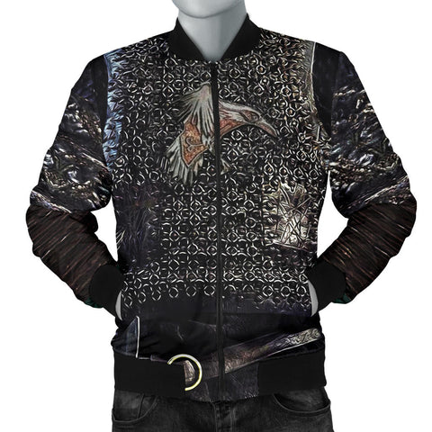 1stIceland Vikings Bomber Jacket for Men , Raven 3D Armour Th00 - 1st Iceland