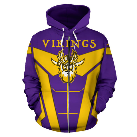 1stIceland Viking Zip Up Hoodie, Minnesota Vikings Football TH0 - 1st Iceland