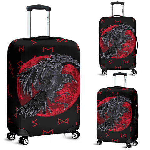 Image of 1stIceland Viking Luggage Covers, Odin Raven with Blood Moon Th5 - 1st Iceland