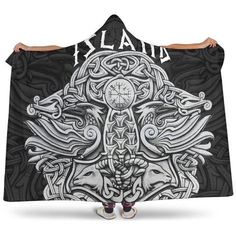 1stIceland Viking Hooded Blanket, Mjolnir Helm Of Awe K4 - 1st Iceland
