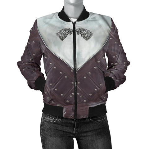 1sticeland Bomber Jacket for Women, 3D Arya Stark Armor All Over Print - 1st Iceland