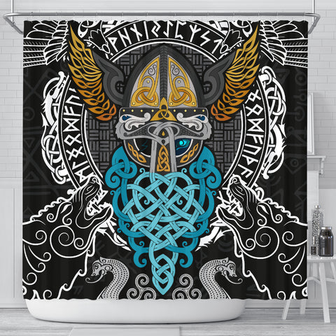 Image of 1stIceland Viking Shower Curtain, Odin Helmet Valnut Helm Of Awe Odin A7 - 1st Iceland