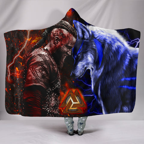 Image of 1stIceland Viking Hooded Blanket Ragnar and Wolf TH12 - 1st Iceland