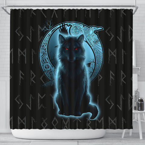 1stIceland Fenrir Viking Wolf And Moon Shower Curtain TH12 - 1st Iceland