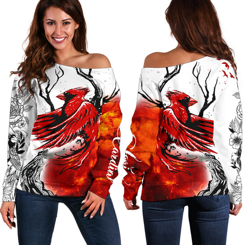 Image of 1stIceland Cardinal Red Bird Off Shoulder Sweater | 1sticeland.com