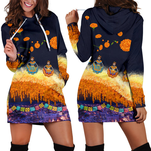 1stIceland Mexican Día de Muertos Women Hoodie Dress Cempasúchil Flowers Bridge K8 - 1st Iceland