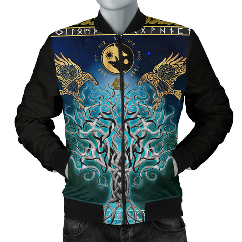 Image of 1stIceland Viking Men's Bomber Jacket, Tree Of Life Fenrir Skoll And Hati Raven Rune TH00 - 1st Iceland