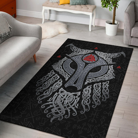 Viking Wolf and Raven Area Rug Valknut Runes 1 | 1stIceland
