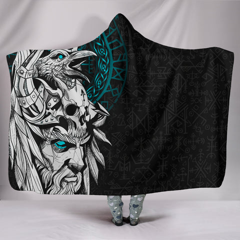 1stIceland Viking Odin And Raven Turquoise Hooded Blanket TH12 - 1st Iceland