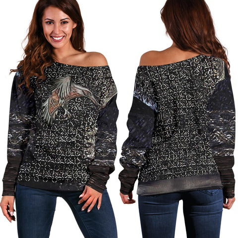 1stIceland Vikings Off Shoulder Sweater, Raven 3D Armour Th00 - 1st Iceland