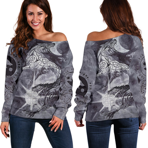 Image of 1stIceland Viking Women Off Shoulder Sweater, Skoll And Hati with Fenrir Yggdrasil TH58 - 1st Iceland