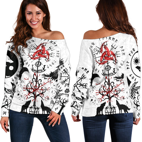 1stIceland Viking Off Shoulder Sweater, Vegvisir Hugin and Munin with Fenrir Yggdrasil K4 - 1st Iceland