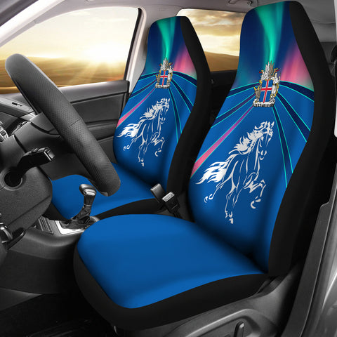 1stIceland Pullover Car Seat Covers, Icelandic Horse Coat Of Arms Northern Lights K4 - 1st Iceland