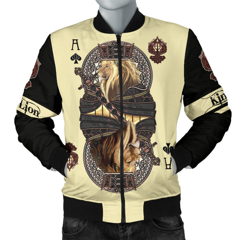 Image of 1stIceland King Ace Spade Lion Poker Men Bomber Jacket TH12 - 1st Iceland
