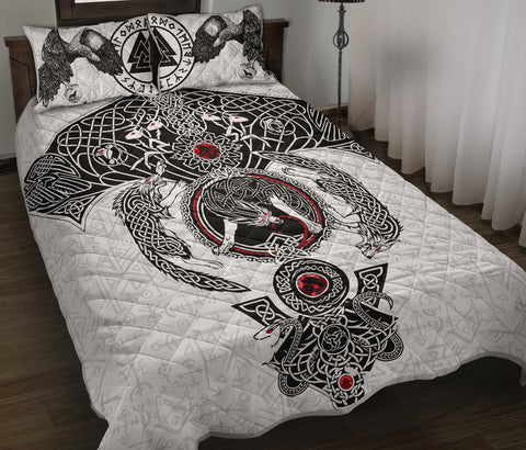 Image of 1stIceland Viking Quilt Bed Set, Odin's Ravens Fenrir Skoll And Hati Valknut K5 - 1st Iceland