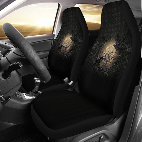 1stIceland Viking Car Seat Covers, Odin's Raven Tree Of Life Valknut Rune Circle K6 - 1st Iceland