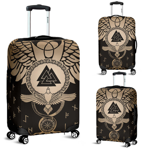 1stIceland Viking Luggage Covers, Flying Raven Tattoo And Valknut Gold - 1st Iceland