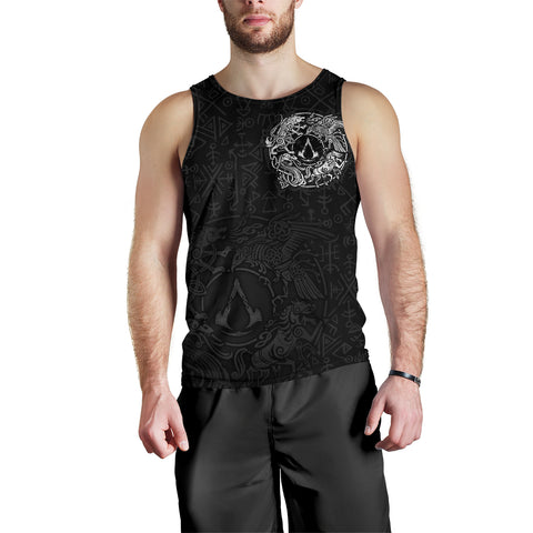Image of 1sticeland Viking Valhalla Men's Tank Top Raven with Wolf - Sleipnir TH5 - 1st Iceland