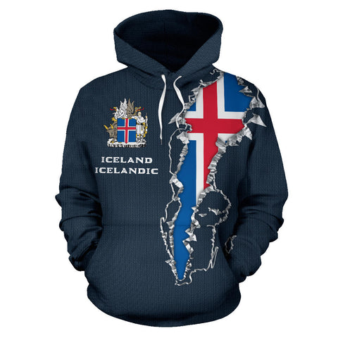 1stIceland Pullover Hoodie, Iceland Flag Coat Of Arms K5 - 1st Iceland