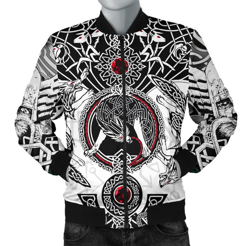 1stIceland Viking Bomber Jacket for Men, Fenrir Skoll And Hati Valknut White TH00 - 1st Iceland