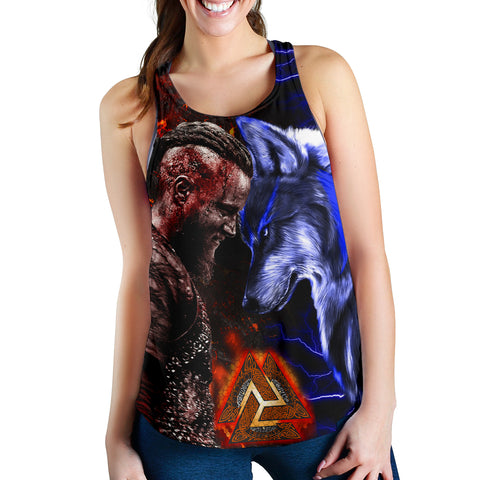 Image of 1stIceland Viking Women's Racerback Tank Ragnar and Wolf | 1stIceland.com