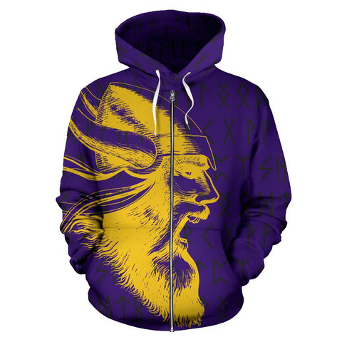 1stIceland Vikings Zip Up Hoodie, Minnesota Vikings Football Runes TH7 - 1st Iceland