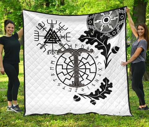 Image of 1stIceland Viking Oak Leaf Premium Quilt Valknut Vegvisir With Irminsul - White K8 - 1st Iceland