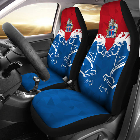 1stIceland Pullover Car Seat Covers, Horse Coat Of Arms Couple Style K4 - 1st Iceland