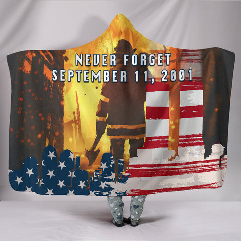 1stIceland American Firefighters Hooded Blanket 9.11.01 Never Forget K8 - 1st Iceland
