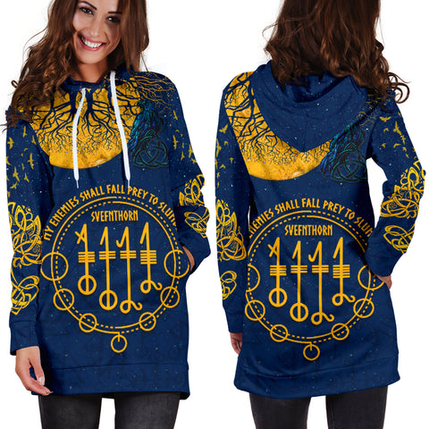 1stIceland Viking Svefnthorn Women Hoodie Dress, Raven The Moonlight K13 - 1st Iceland